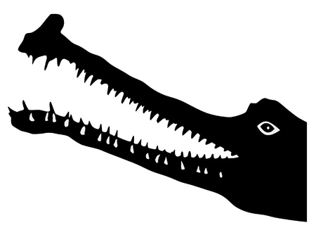 an illustration of black silhouette of gavial Vector