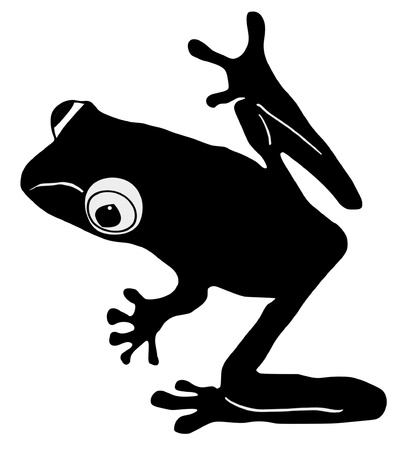 croaking: an illustration of black silhouette of tree frog Illustration