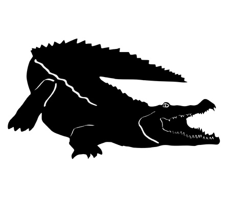 an illustration of black silhouette of crocodile Vector