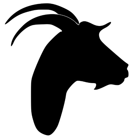 domestic goat: a black silhouette of serie of animals, goat Illustration