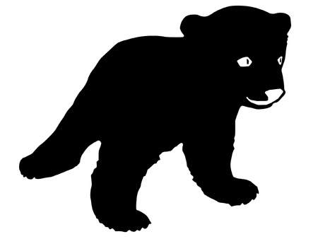a black silhouette of serie of animals, bear cub Vector