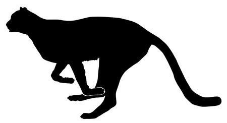 a black silhouette of serie of animals, running cheetah Vector
