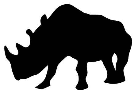 a black silhouette of serie of animals, rhinoceros Stock Vector - 11611529