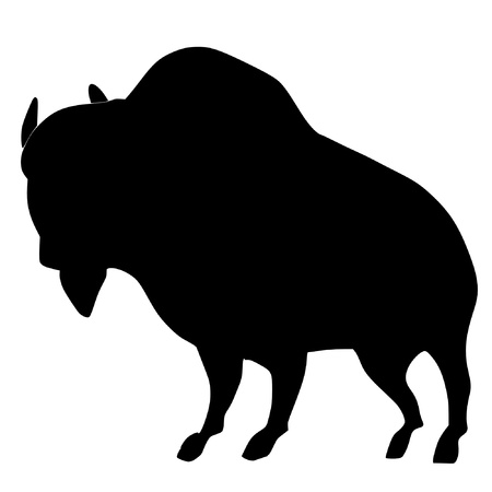 a black silhouette of serie of animals, buffalo  Vector