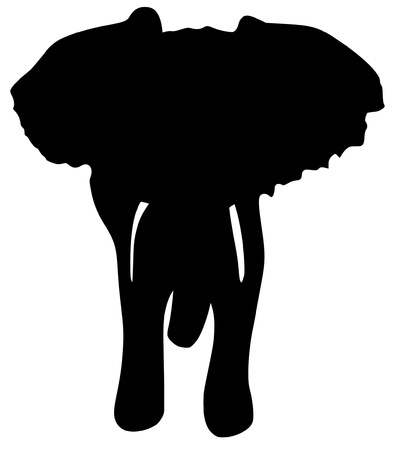 a black silhouette of serie of animals, elephant Vector