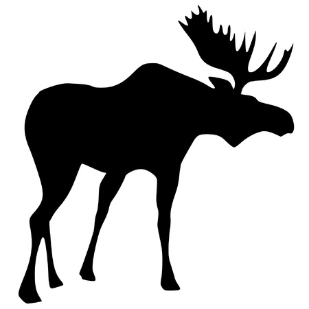 a black silhouette of serie of animals, moose Vector