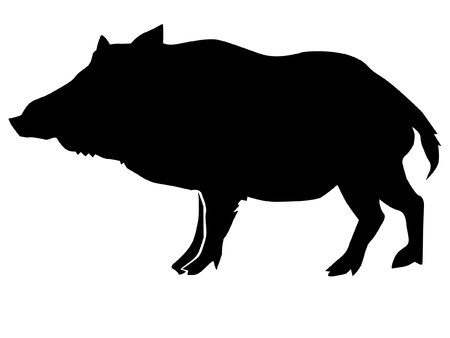 a black silhouette of serie of animals, wild boar Stock Vector - 11611589