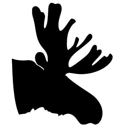 alces alces: una silueta de color negro de la serie de los animales, el alce