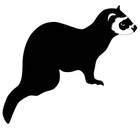 a black silhouette of serie of animals, ferret