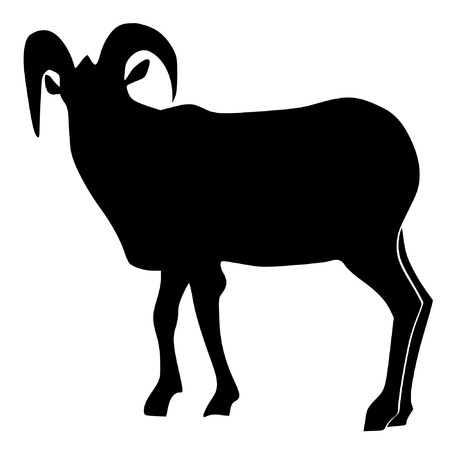 berggeit: een zwart silhouet van serie van dieren, berggeit