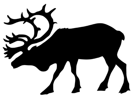 a black silhouette of serie of animals, caribou Vector