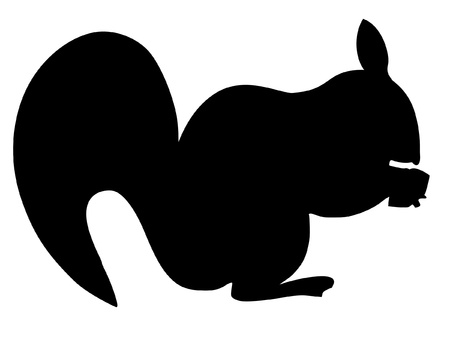 a black silhouette of serie of animals, squirrel