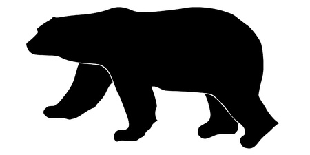 a black silhouette of serie of animals, polar bear Vector
