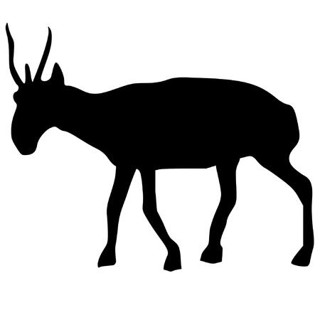 serie: a black silhouette of serie of animals, saiga Illustration
