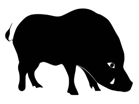 serie: a black silhouette of serie of animals, wild boar Illustration