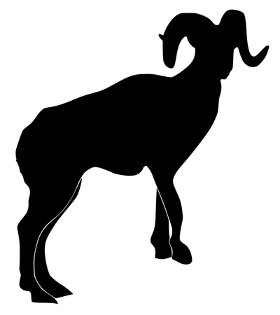 a black silhouette of serie of animals, mountain-goat Vector