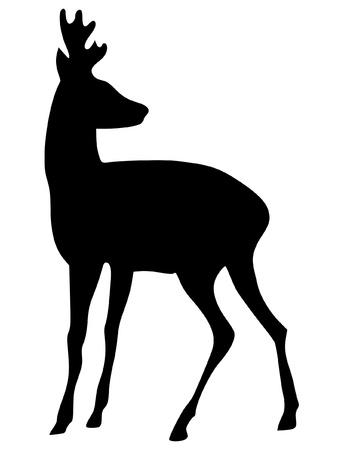 een zwart silhouet van serie van dieren, ree