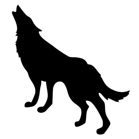 lobo: una silueta de color negro de serie de los animales, el lobo