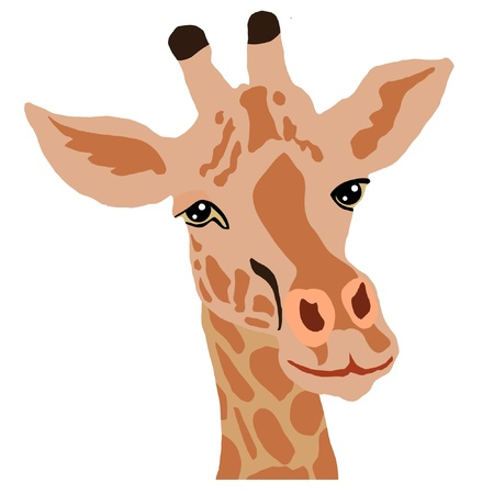 a color illustration of serie of animals, giraffe