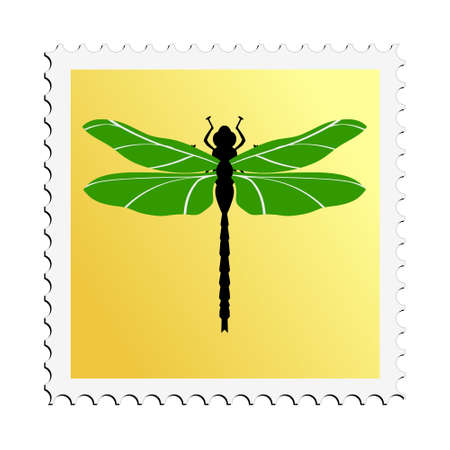 illustration postage stamp with image of dragonfly Illustration