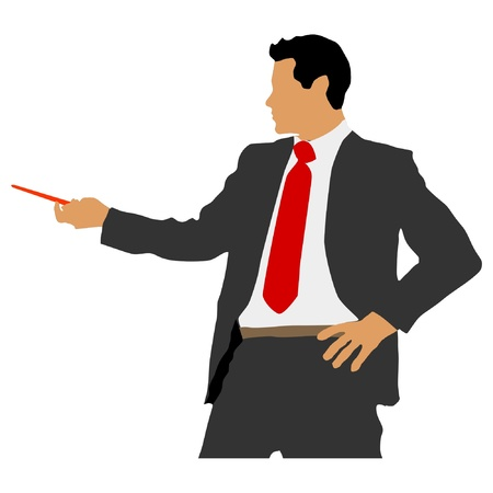 office presentation: business man with pointer Illustration
