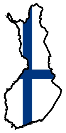 finland flag: Illustration of flag in map of Finland Illustration