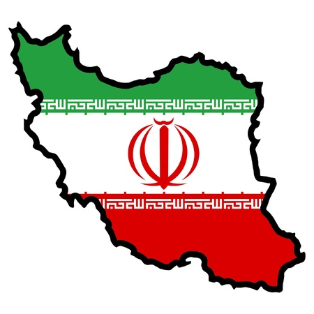 Illustration of flag in map of Iran Vector