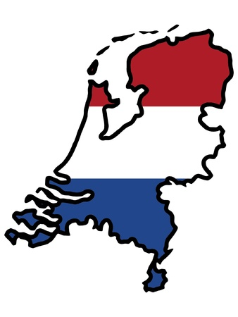 Illustration of flag in map of Netherlands Vector