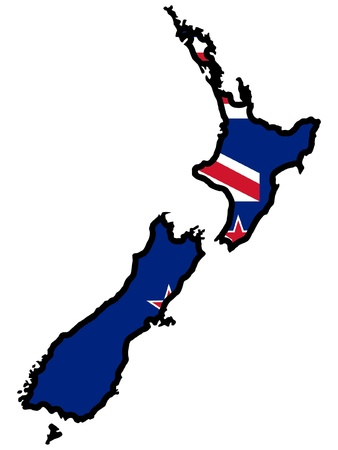 Illustration of flag in map of New Zealand Vector