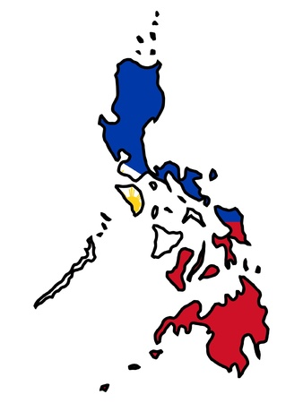 philippines  map: Illustration of flag in map of Philippines