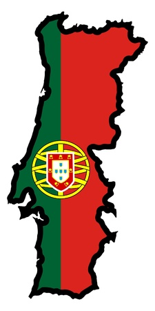 Illustration of flag in map of Portugal Vector