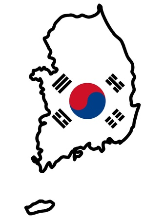 Illustration of flag in map of South Korea Vector