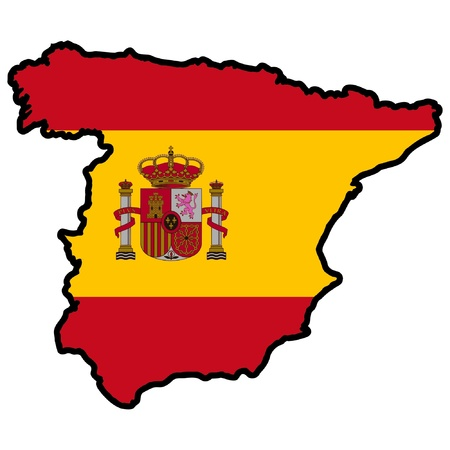 Illustration of flag in map of Spain Vector