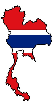 Illustration of flag in map of Thailand Vector