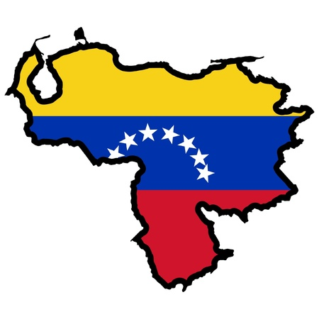 Illustration of flag in map of Venezuela Vector