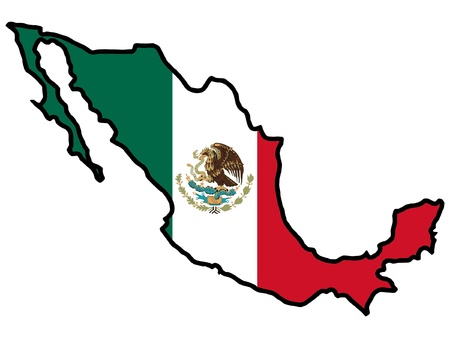 Illustration of flag in map of Mexico