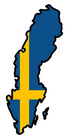 Illustration of flag in map of Sweden Stock Vector - 11649003