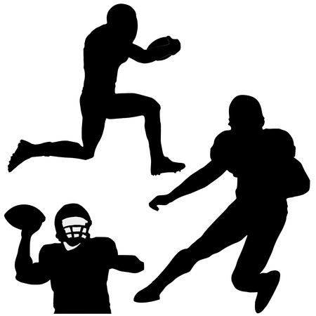 quarterback: Set of silhouettes of football players