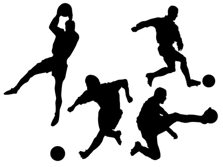 Set of silhouettes of soccer players Vector