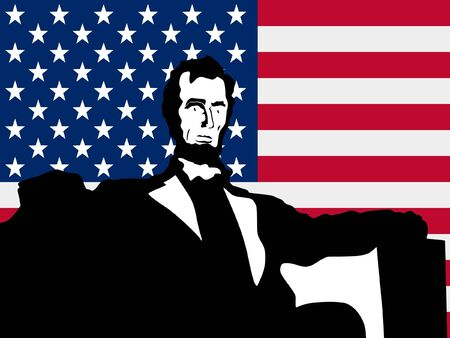 abraham lincoln: silhouette of Lincoln Memorial on United States of America flag background