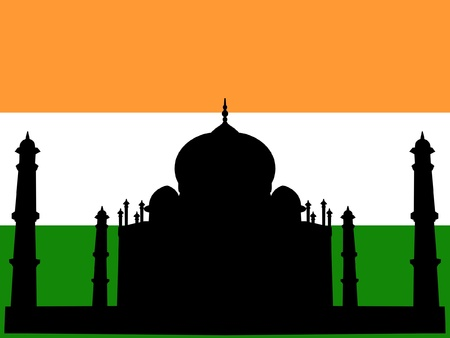 silhouette of Taj Mahal on Indian flag background Vector