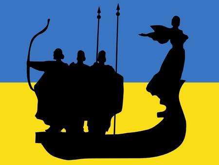 point of interest: silhouette of Kyiv on Ukrainian flag background