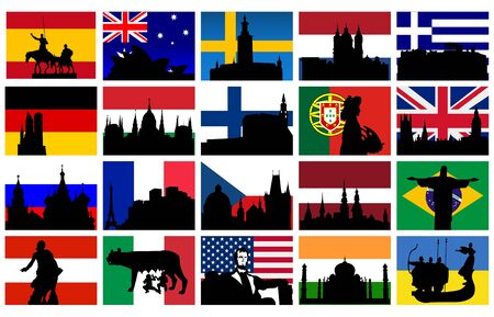 set of silhouettes of monuments with flags Vector