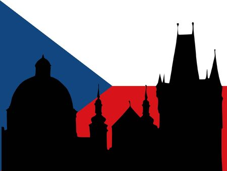 singularity: silhouette of Prague on Czechia flag background Illustration