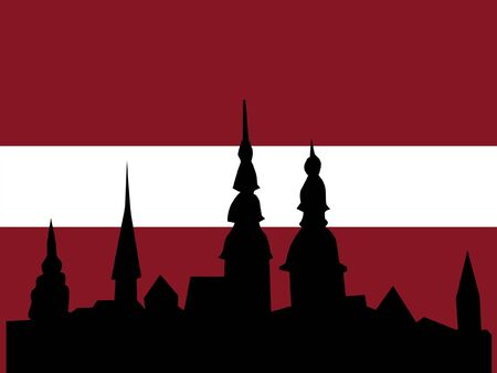 point of interest: silhouette of Riga on Latvia flag background