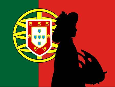 singularity: silhouette of Lisbon on Portugal flag background Illustration