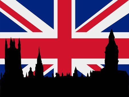 point of interest: silhouette of London on United Kingdom flag background