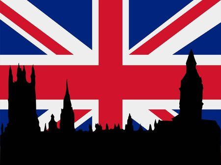 silueta de Londres, en el fondo de bandera Unido Ilustración de vector