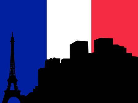 singularity: silhouette of Paris on France flag background Illustration