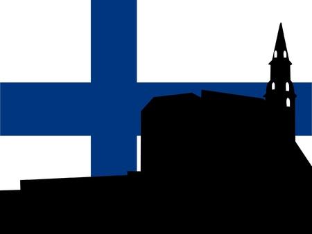 silhouette of Helsinki on Finland flag background